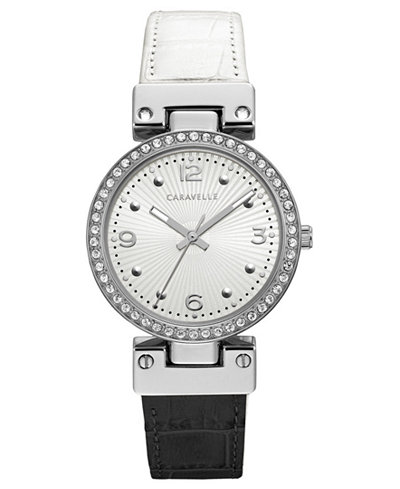 Caravelle Women's Black & White Leather Reversible Strap Watch 32mm