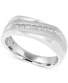 Men's Diamond Diagonal Ring (1/10 ct. t.w.) in 10k White Gold
