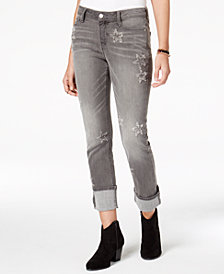 Black Daisy Juniors' Kate Distressed Straight-Leg Jeans