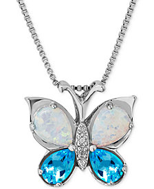 Multi-Gemstone (1-5/8 ct. t.w.) & Diamond Accent Butterfly Pendant Necklace in Sterling Silver