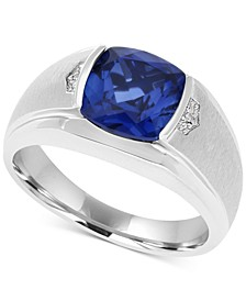 Men's Lab-Created Blue Sapphire (5 ct. t.w.) & Diamond Accent Ring in 10k White Gold
