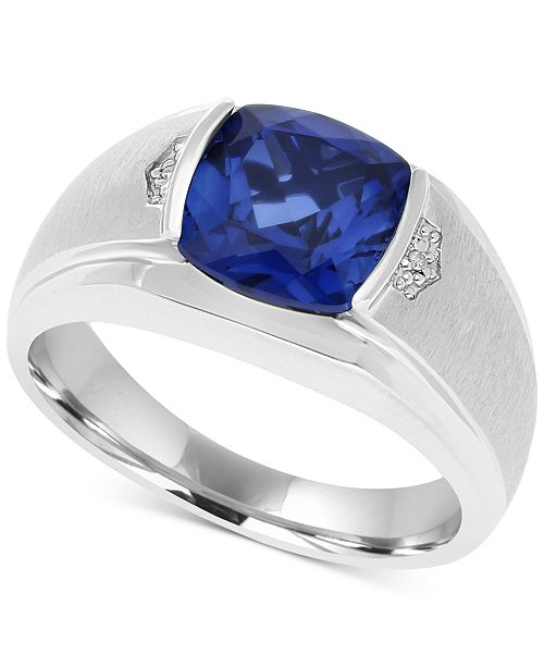 c168793b237b Macy's Men's Lab-Created Blue Sapphire (5 ct. t.w.) & Diamond Accent ...