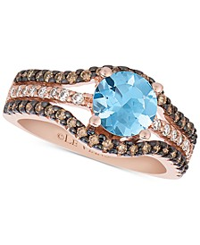 Chocolatier® Sea Blue Aquamarine® (9/10 ct. t.w.) & Diamond (1/2 ct. t.w.) Ring in 14k Rose Gold