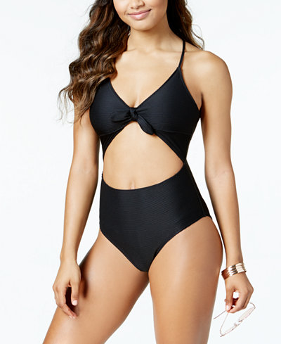 Bar III Ribbed Tie-Front Cutout One-Piece Swimsuit, Created for Macy's