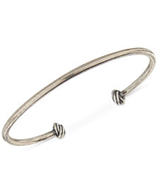 DEGS & SAL Men's Knotted Cuff Bracelet in Sterling Silver