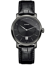 Rado Men's Swiss Diamaster Black Leather Strap Watch 40mm