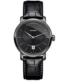 Rado Men's Swiss Diamaster Black Leather Strap Watch 40mm