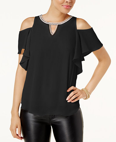 BCX Juniors' Cold-Shoulder Chain-Trim Blouse
