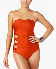 Carmen Marc Valvo Cutout Strapless One-Piece Swimsuit