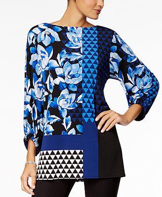 Alfani Mixed-Print Tunic, Created for Macy's