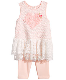 Marmellata 2-Pc. Lace Heart Top & Capri Leggings Set, Baby Girls