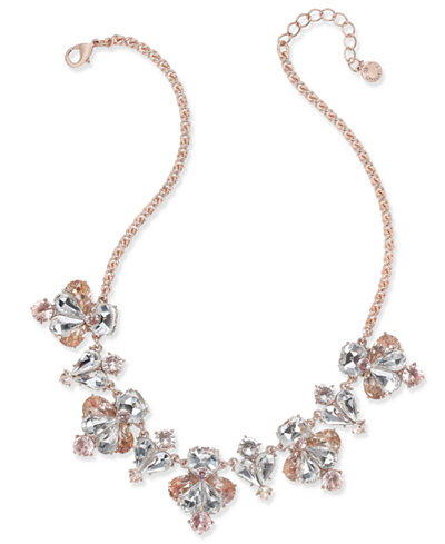 Charter Club Rose Gold-Tone Multi-Stone Statement Necklace, Created for Macy's