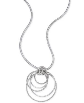 Image of Thalia Sodi Silver-Tone Multi-Ring Pendant Necklace, Created for Macy's