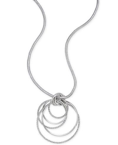 Thalia sodi silver tone multi ring pendant necklace created for thalia sodi silver tone multi ring pendant necklace created for macys mozeypictures Choice Image