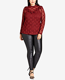 City Chic Trendy Plus Size Lace Illusion Top