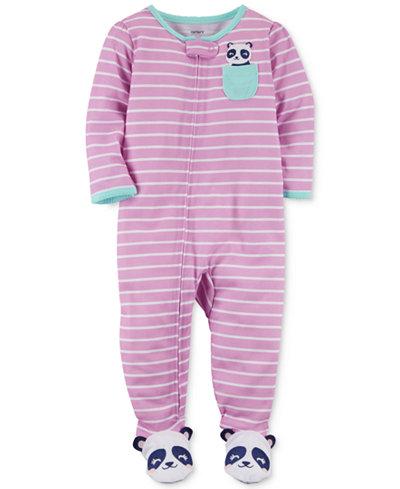 Carter's 1-Pc. Striped Panda Footed Pajamas, Baby Girls