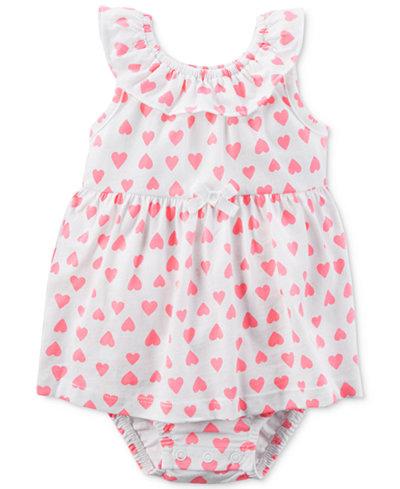 Carter's Heart-Print Skirted Romper, Baby Girls