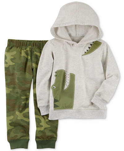 Carter's 2-Pc. Cotton Alligator Hoodie & Camo Jogger Pants Set, Baby Boys