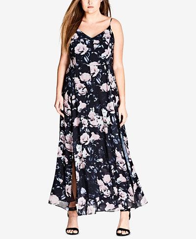 City Chic Trendy Plus Size Rose Romance Maxi Dress