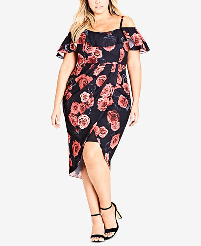 City Chic Trendy Plus Size Rose-Print Cold-Shoulder High-Low Dress