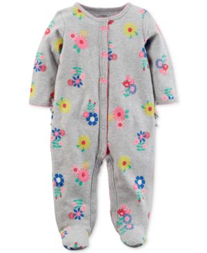 Carter's Floral-Print Footed Cotton Coverall, Baby Girls thumbnail