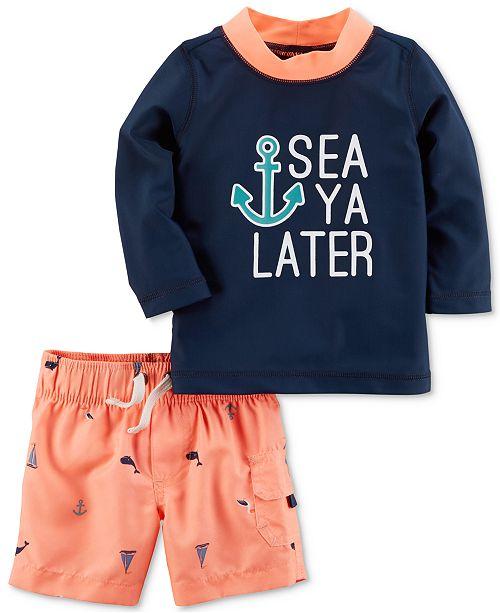 fbd066085b94a Carter's 2-Pc. Sea Rash Guard & Swim Trunks Set, Baby Boys & Reviews ...