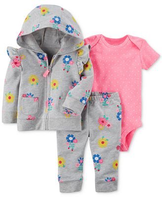 Carter's 3-Pc. Floral-Print Hoodie, Dot-Print Bodysuit & Floral-Print Pants Set, Baby Girls