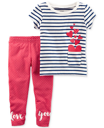 Carter's 2-Pc. Striped Hearts Top & Love You Leggings Set, Baby Girls