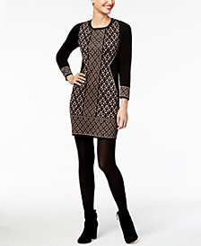 NY Collection Petite Metallic Jacquard Sweater Dress