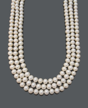 Belle de Mer Pearl Necklace, 14k Gold Cultured Freshwater Pearl Three-Row Strand (9-10mm)