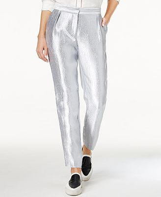 Armani Exchange Metallic Crinkle Pants