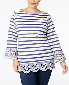 Charter Club Plus Size Striped Eyelet-Trim Tunic, Created for Macy's