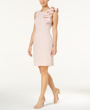 RUFFLED SHEATH DRESS, REGULAR & PETITE SIZES