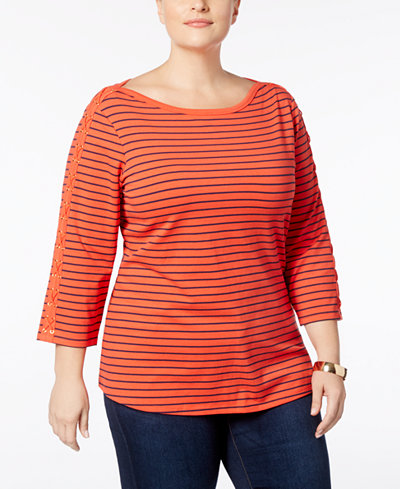 Charter Club Plus Size Lace-Up-Sleeve Striped T-Shirt, Created for Macy's