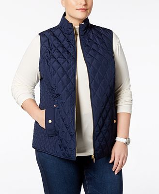 Charter Club Plus Size Quilted Vest, Created for Macy's