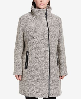 Calvin Klein Plus Size Faux-Leather-Trim Asymmetrical Walker Coat