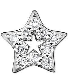 Diamond Accent Star Single Stud Earring in 14k White Gold