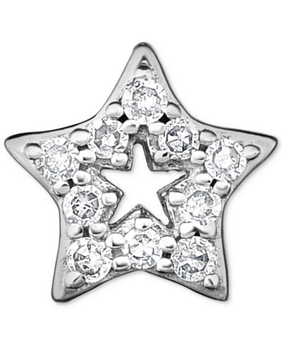 Diamond Accent Star Single Stud Earring in 14k White Gold