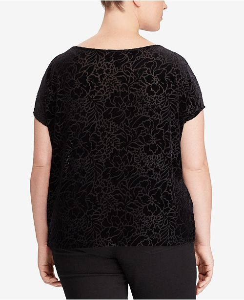 278cb0da3c2 Lauren Ralph Lauren. Plus Size Floral-Burnout Velvet T-Shirt. Be the first  to Write a Review. main image  main image  main image ...