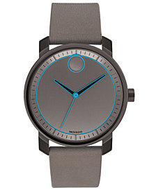Movado Men's Swiss BOLD Gray Leather Strap Watch 41mm