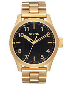 Nixon Men's Safari Gold-Tone Stainless Steel Bracelet Watch 43mm