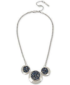 Kenneth Cole New York Silver-Tone Blue Sprinkle Stone Statement Necklace
