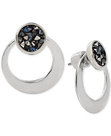 Kenneth Cole New York Silver-Tone Blue Sprinkle Stone Stud & Hoop Front-Back Earrings