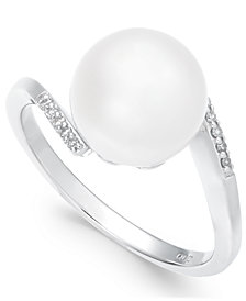 Cultured Freshwater Pearl (10mm) & Diamond Accent Ring in 14k White Gold