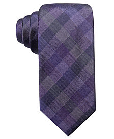 Ryan Seacrest Distinction™ Men's Warwick Gingham Slim Silk Tie, Created for Macy's