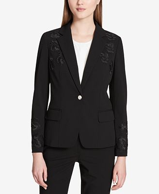 Calvin Klein Floral-Appliqué One-Button Jacket