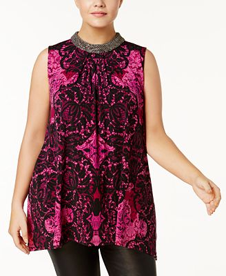 alfani plus size embellished printed top, created for macy's