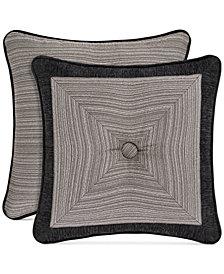 """J Queen New York Raffaella Graphite 18"""" Square Decorative Pillow"""