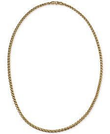"Esquire Men's Jewelry 22"" Wheat Chain Link Necklace in 14k Gold-Plated Sterling Silver, Created for Macy's"