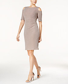 R & M Richards Metallic Cold-Shoulder Sheath Dress